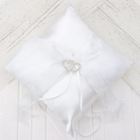 Rhinestone Hearts Ring Pillow