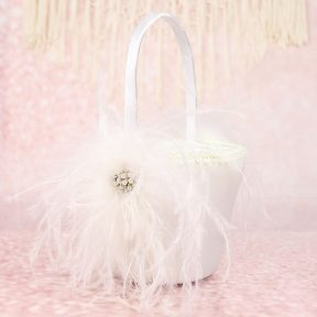 Fabulous Feathers Flower Girl Basket