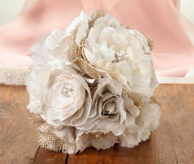 Hessian and Lace Wedding Bouquet