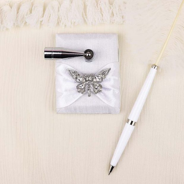 Diamante Butterfly Feather Pen