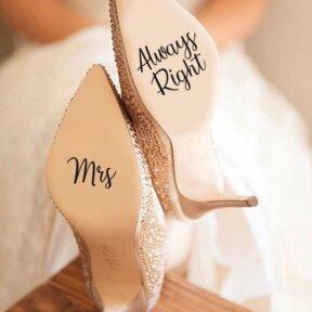 Mrs Always Right Wedding Shoe Stickers