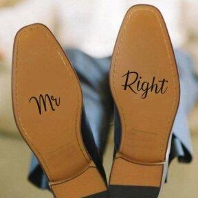 Mr Right Wedding Shoe Stickers