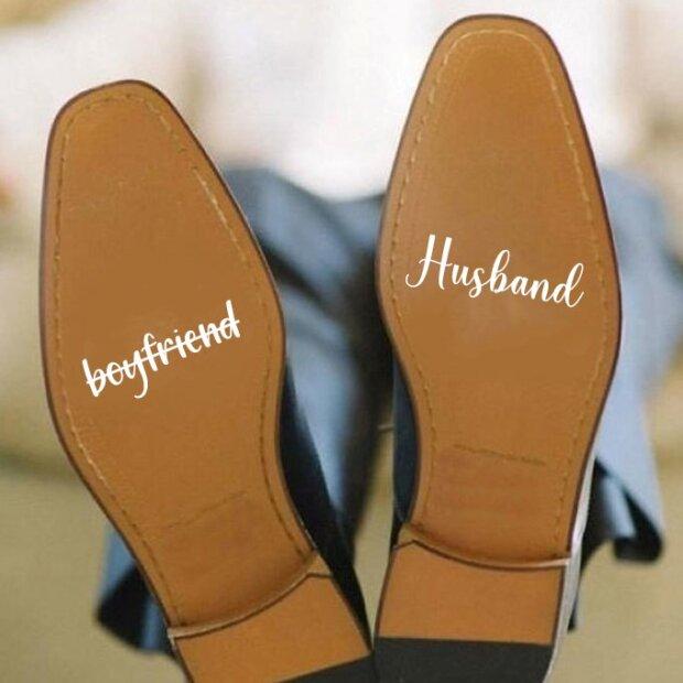 Boyfriend Husband Wedding Shoe Stickers
