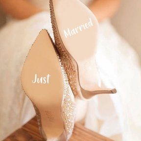 Just Married Wedding Shoe Stickers