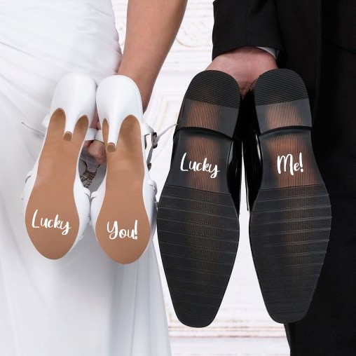 Lucky You Wedding Shoe Stickers
