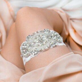 Rhinestone Pearls Bridal Garter