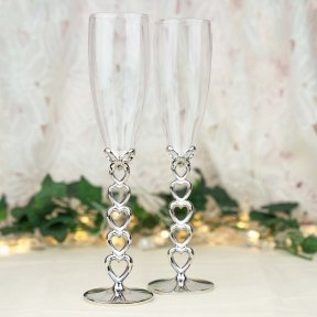 Love Hearts Champagne Flutes