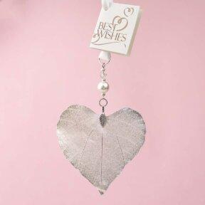 Silver Leaf Heart Charm