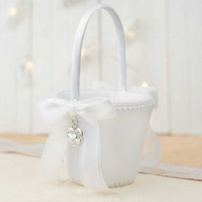 Silver Hearts Flower Girl Basket