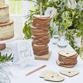 Wooden Hearts Guest Book