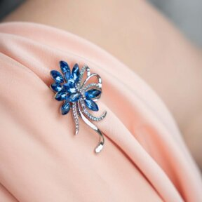 Something Blue Bouquet Brooch