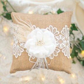 Rustic Hessian Ring Pillow