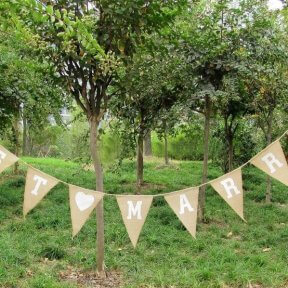 Just Married Rustic Burlap Bunting