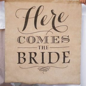 here comes the bride hessian banner