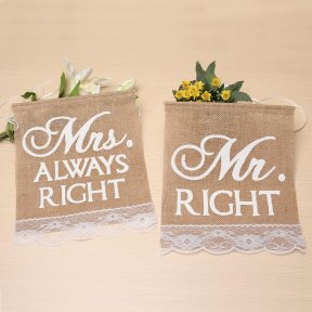 Mr Right & Mrs Always Right Chair Banners