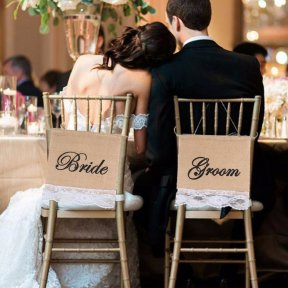Bride and Groom Burlap/Lace Chair Banners