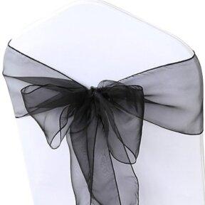 shimmering black organza chair sashes
