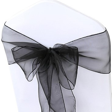 shimmering black organza chair sashes