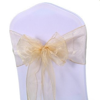 shimmering champagne organza chair sashes
