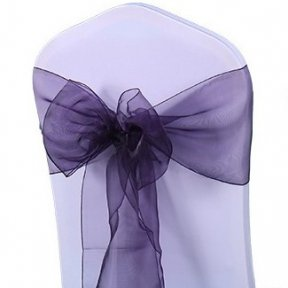 Dark Purple Organza Chair Sashes