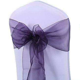shimmering dark purple organza chair sash
