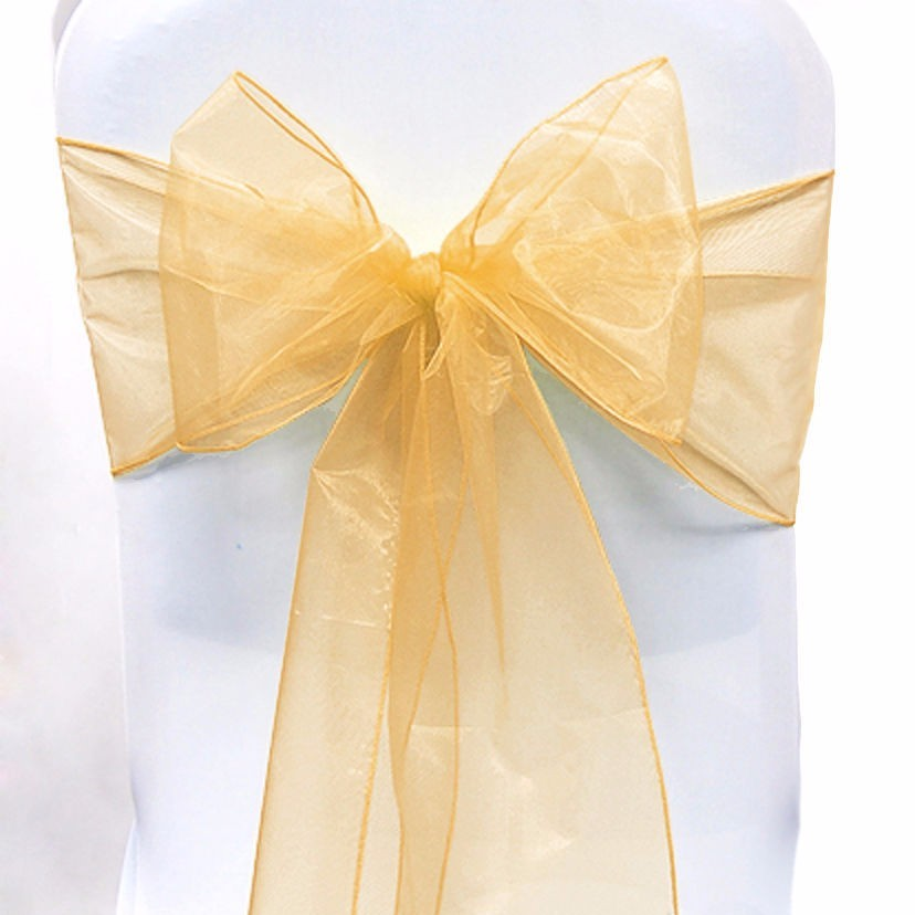 Gold Shimmering Organza Chair Sashes