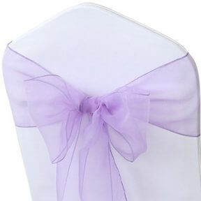 shimmering lavender organza chair sashes