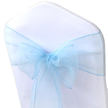 shimmering light blue organza chair sashes