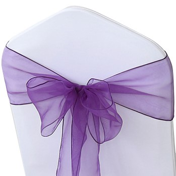 shimmering purple organza chair sashes