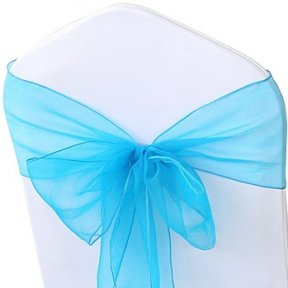 shimmering turquoise organza sashes