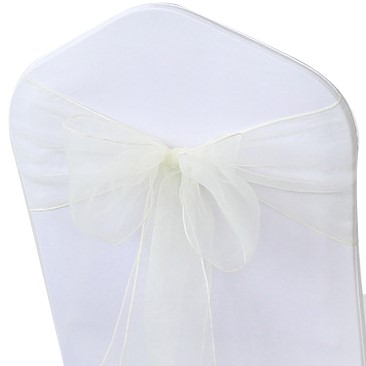 shimmering white organza chair sashes