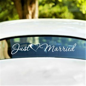 Just Married with Love Heart Wedding Car Decal