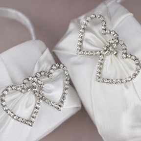 Diamante Hearts Satin Flower Girl Basket