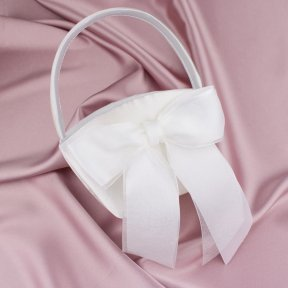 Satin and Organza Bow Flower Girl Basket