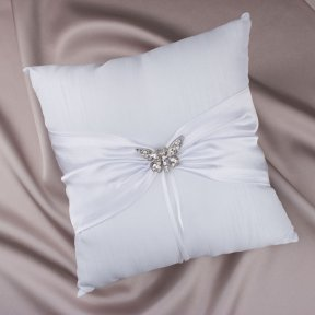 Silver Diamante Butterfly White Satin Ring Pillow