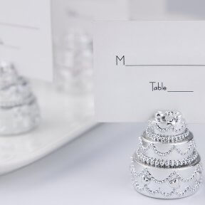 Silver Wedding Cake Place Card Holder