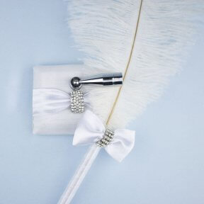 Diamante Clasp White Satin Feather Pen