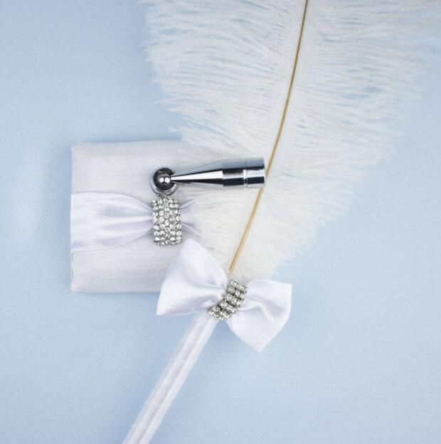 diamante clasp white satin feather pen