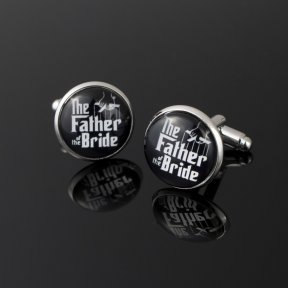 round black cufflinks resembling the look of the godfather movie cover with the father of the bride words written in white