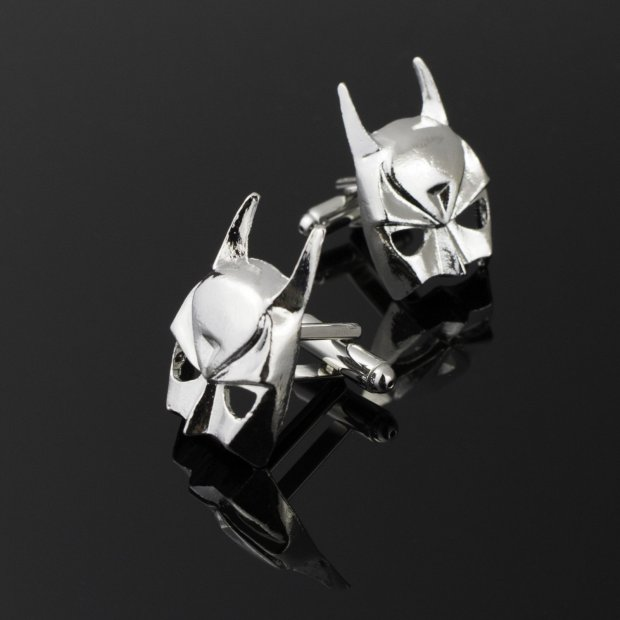 Wedding Cufflinks Silver Batman Mask