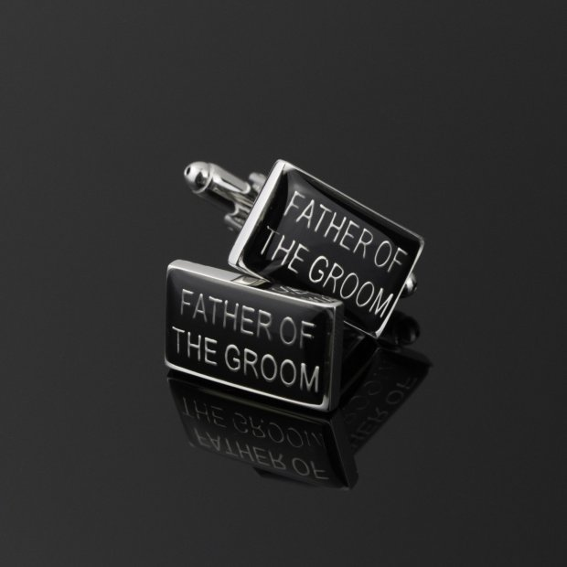 black rectangle cufflinks with silver trim and silver father of the groom uppercase words