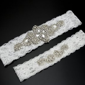 Diamante & Lace 2pc Bridal Garter Set