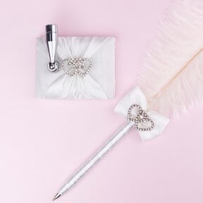 Feather Pen with Diamante Hearts
