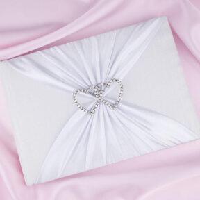 White Satin Guesbook with Diamante Hearts