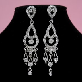 Bridal Earrings with Rhinestones