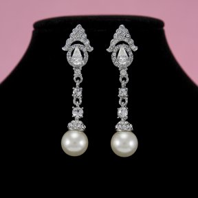 Bridal Earrings with Rhinestones and Pearls