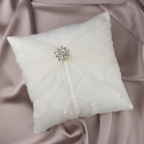 Flower Ring Pillow Ivory Satin