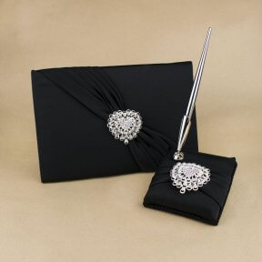Black Satin with Jewel Hearts Guest Book and Pen Set
